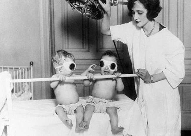These babies are being treated for winter rickets at an orphanage in Chicago in 1925.