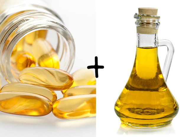 To mix a makeup remover that's good for you skin, combine one part olive oil and one part water. Then, break open a vitamin E capsule and add it to the cocktail.