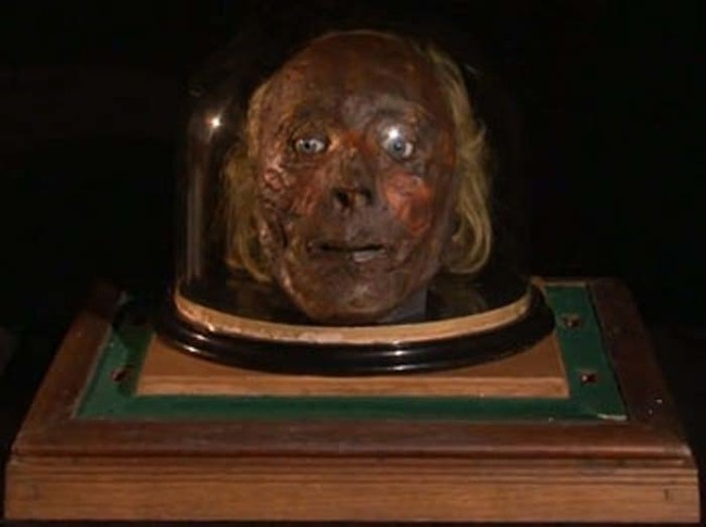 Originally, Bentham wanted the Auto-Icon to feature his actual preserved head, pictured below.