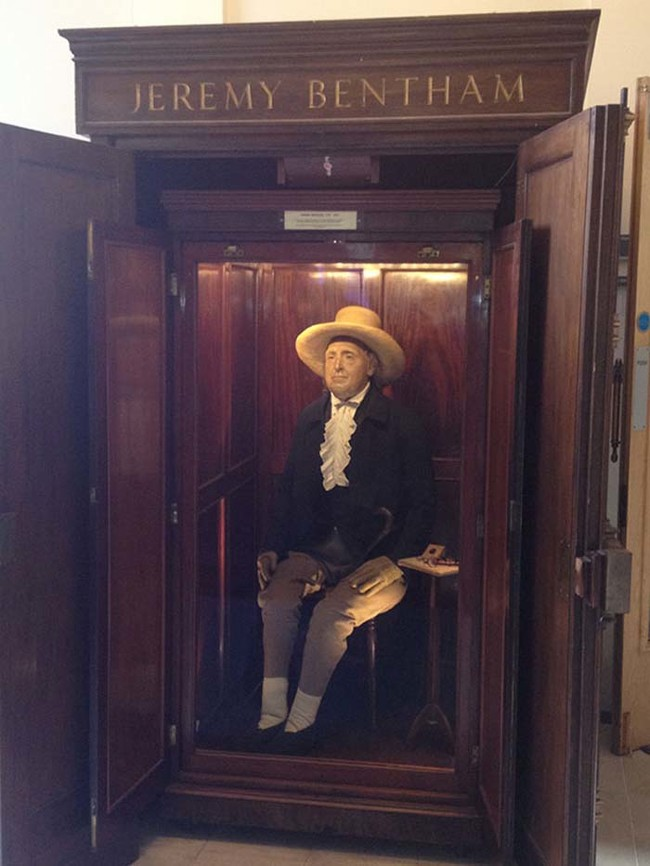 Today, Bentham's Auto-Icon still stands in the halls of the University College London, and it's as creepy as ever.