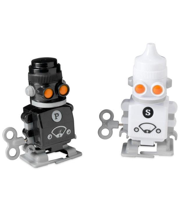 Wind-up salt and pepper robots.