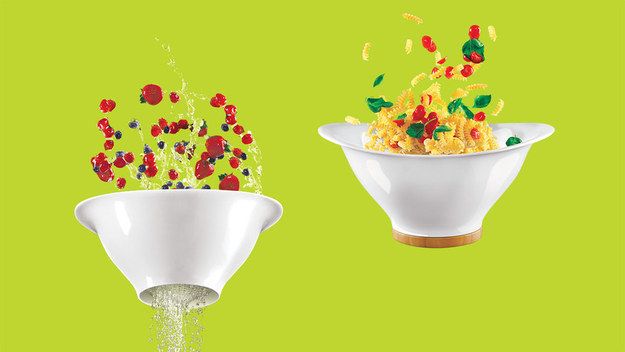 A colander with a screw-on base that turns it into a serving bowl.