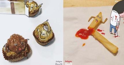 韓國插畫家畫出「食物可愛性格」 可愛到完全捨不得吃了