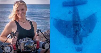這名潛水教練潛水潛到海底時居然發現到150架70年前二戰時期的戰機殘骸!