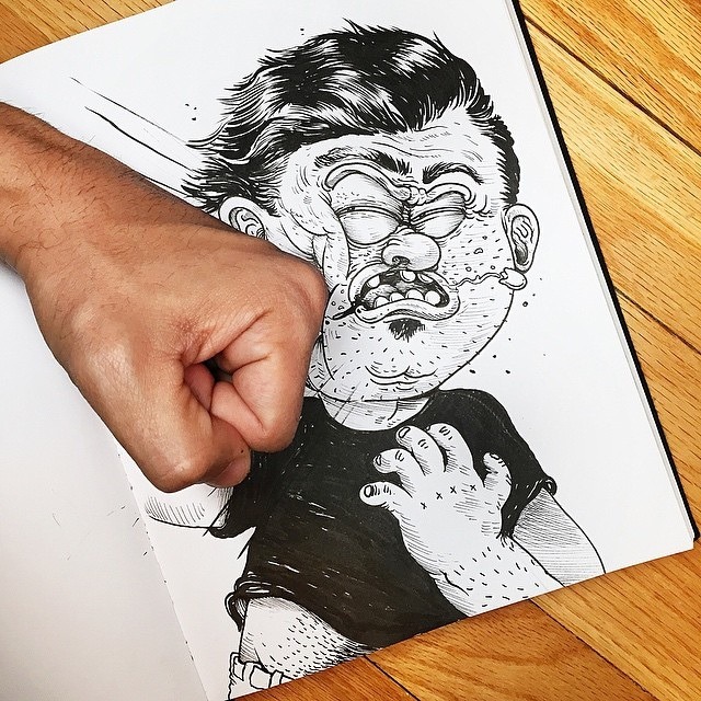 這名畫家自己畫出的漫畫人物會忽然開始攻擊他!這種互毆藝術真的太天才了!