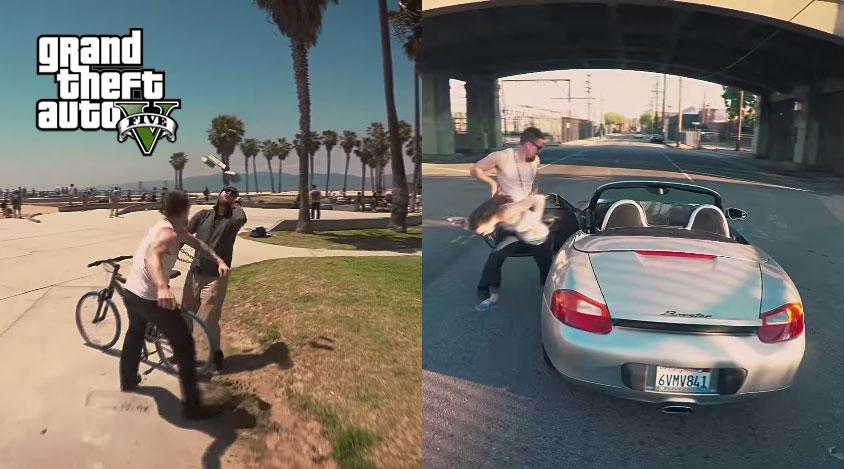 有人把《俠盜獵車手V》變成真人版,槍戰的畫面也太像了吧?!