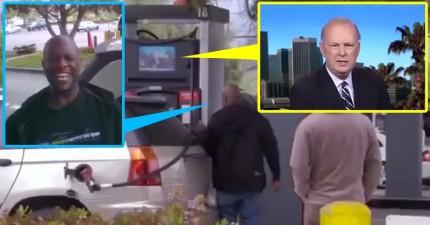 這名男子加油加到一半,螢幕上忽然出現主持人請他用唱卡拉OK付油錢!結果老婆在車內笑到快瘋掉了!