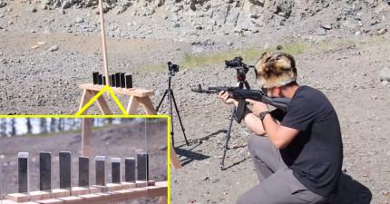 這個男生用機關槍射擊8台iPhone,想看看幾台才可以敵擋子彈。