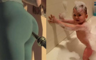 當父母親在幫他洗澡開始唱「泡泡屁股歌」時,這個小寶寶做的事情會讓你的屁屁也不自覺的動起來!