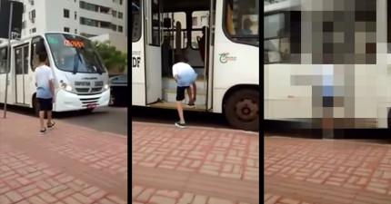 小屁孩假裝要搭公車其實是綁鞋帶惡作劇,但下一秒公車司機馬上就讓他後悔大叫了!