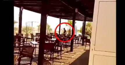 這群手無寸鐵的飯店員工追在拿著槍的恐怖分子後面,超近距離緊張過程都被錄下來了!