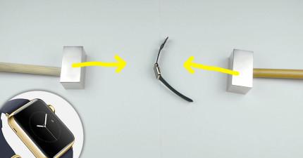 他們把價值31萬的Apple金手錶放在2個超強力磁鐵之間,接著...相吸瞬間以300公斤力道重重夾爆!
