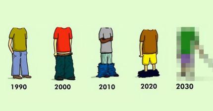 17張時代變遷的爆笑中肯差異圖,2030年的褲子該怎麼穿才時尚?!