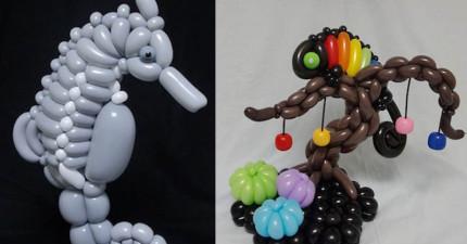 這位日本藝術家只靠氣球就創作出鬼斧神工的種種細節,讓只會摺寶劍的我好想撞牆啊...