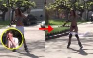 辣妹溜冰溜到一半裙子飛掉了,結果男生完全藏不住反應啊!