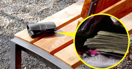 一名流浪漢在四下無人撿到內有上萬元的錢包,但裡頭的東西讓他立刻心軟歸還了。