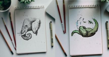 世上最棒老爸用超酷的方式教兒子字母,每天都畫出一個不同的可愛字母動物!