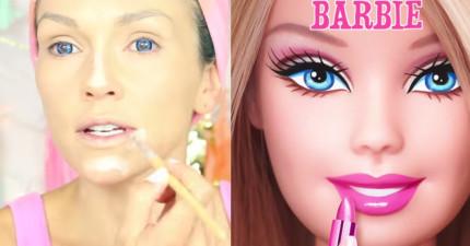 給她90秒,她就會教你如何從普通人類迅速變成超夢幻彩妝的芭比娃娃!