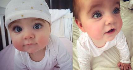 「世界最美藍眼睛」的8個月小女嬰,「閉上眼超瘋狂睫毛」讓她才8個月大就有10萬粉絲了!