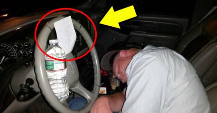 這名男子醉醒後,車子方向盤上竟出現了一張「神秘守護者」留下的超正義紙條!