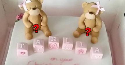 這名媽媽訂了蛋糕要給3歲女兒,卻因泰迪熊「兩腿之間」的東西與蛋糕店引發了激烈爭執!
