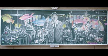 如果高中老師回到教室看到這些超猛「黑板上的塗鴉」,一定會想要直接拜學生為師!