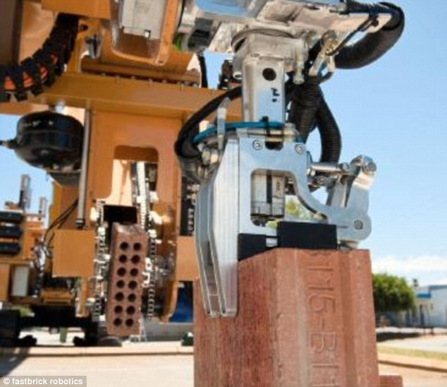 The robot (pictured), called Hadrian, was developed by an Australian inventor. It can lay 1,000 bricks an hour and work around the clock, 24 hours a day. A robotic 'hand' lays the brick, and it can also apply mortar. It 3D scans its surroundings to work out exactly where to place bricks