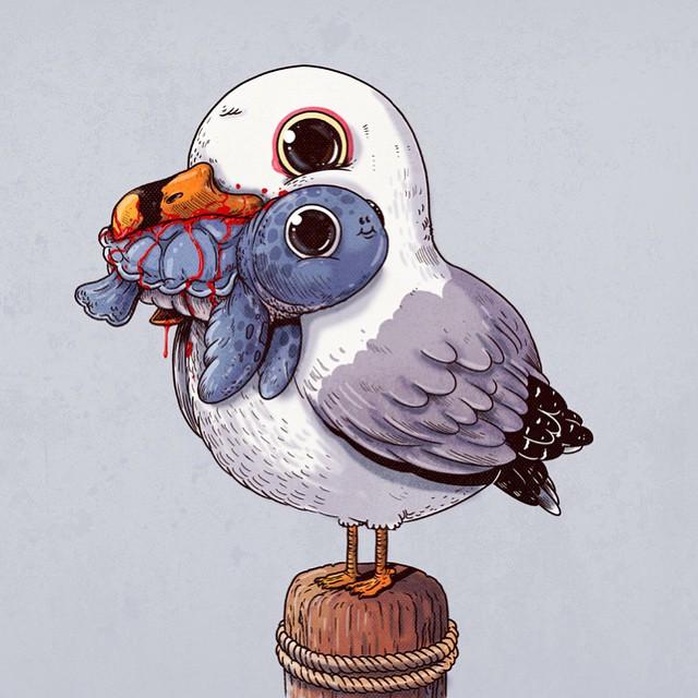 這名藝術家把一些應該要很「血腥暴力的食物鏈畫面」變得可愛到你的眼睛也會變得超水汪汪!