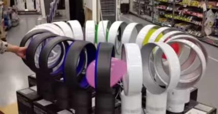 佷明顯有賣場員工太無聊了,居然用Dyson無葉片風扇發明出無限循環的軌道!