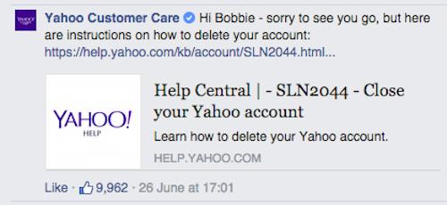 反同網友不滿Yahoo也變成彩虹色、威脅要刪除帳號,Yahoo的反擊...好貼心。