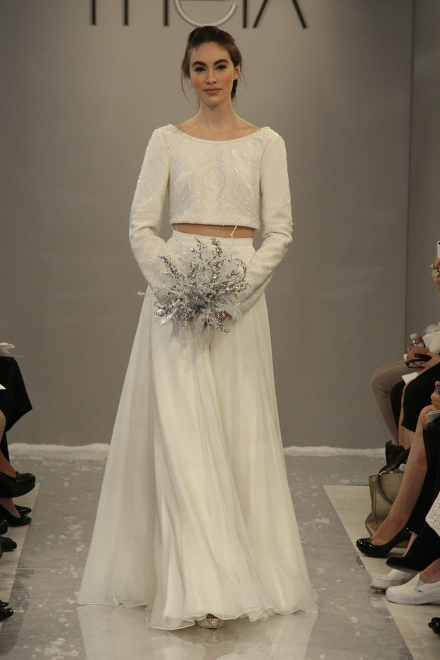 Let it snow in this Theia gown.