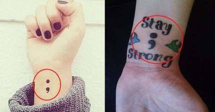 大家紛紛在網路上PO出身上神秘的「分號」刺青照,背後傳達的訊息可是救了許多條人命啊!