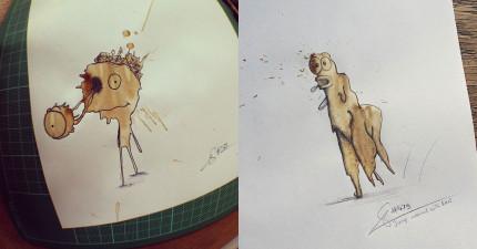 他的同事都以為他故意把咖啡弄到白紙上瘋掉了,結果一看才發現到這些超可愛的「咖啡漬小怪獸」!