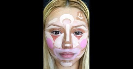 你可能會覺得這個席捲全球的「小丑化妝法」很瘋狂,但你看到她結束後的超美模樣也會想要學起來!