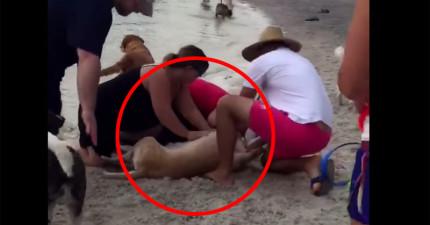 這隻狗狗忽然停止呼吸倒地,旁人十萬火急地開始「CPR口對口人工呼吸」搶救他...