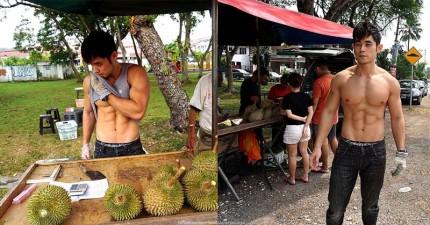 貌似天王周董的六塊肌猛男竟現身於馬來西亞榴槤攤位,讓最討厭榴槤的我都想衝去買了!