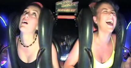 左邊這個女孩一開始還在跟旁邊的女生說要爭氣,結果當一彈上去的時候就受不了昏過去N次!