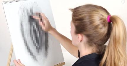 這6個女生盯著她們的私密處然後形容給一個畫家聽,結果她們要在畫像中分辨出哪個是自己的。