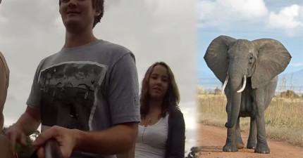 他在騎大象時自拍棒和相機手滑掉到地上,結果他就發現到大象是全世界最珍貴的動物!