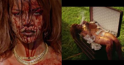 蕾哈娜最新MV「X子,我的錢呢」版本裡面不只血腥,而且還有意外的裸露,讓粉絲看到超傻眼!