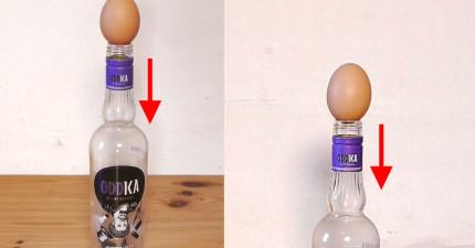 如何把還有殼的雞蛋弄到瓶子裡面去呢?看到方式後你會超傻眼!
