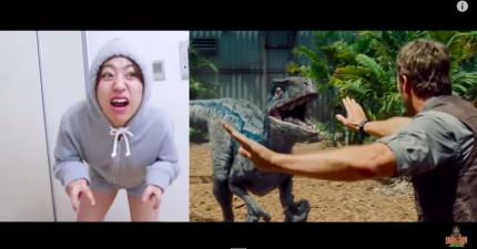 這韓國女生一人演完完整的《侏羅紀世界》預告片會提醒你絕對不要放棄夢想。