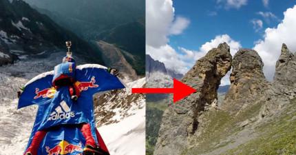 這個男子穿著飛鼠裝用超快速度飛進這個只有2公尺寬的山洞,一不小心就會直接撞爆!