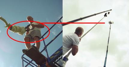 這個人是世界上第一個高空彈跳不繫繩子的狂人。看看他是怎麼「落地」的!