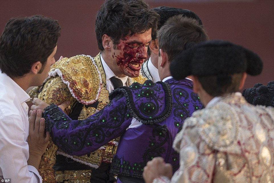 Walked away with his life: The bullfighter is helped by other matadors as he exits the bullring following the accident