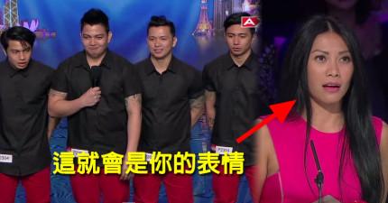 這4兄弟的表演看得我害怕他們的脖子要折斷!我的表情就跟這個評審完全一樣。
