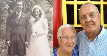 這對從8歲就開始交往結婚75年的夫婦最後在對方的懷裡死去。