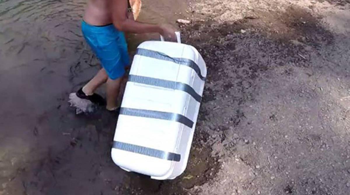 他們在河中發現這個「膠帶封死的箱子」,打開發現的東西讓人要去廟裡拜拜收驚。