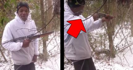 他不聽朋友警告「堅持用這個姿勢開槍」,結果他下一秒後悔到我想要幫他哭...