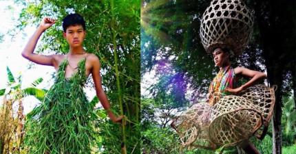 這位泰國少年沒錢買時尚衣服,但他DIY拼湊出的成果連Prada都要冒冷汗了。